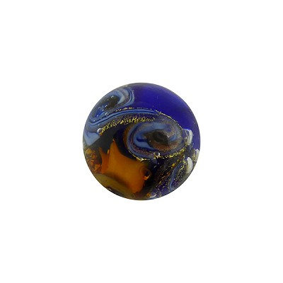 Topaz with Cobalt Aventurina and 24kt Gold Foil Mare Round 14mm Murano Glass Bead
