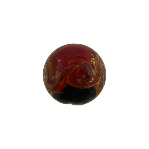 Red and Black with Aventurina and 24kt Gold Foil Mare Round 14mm Murano Glass Bead