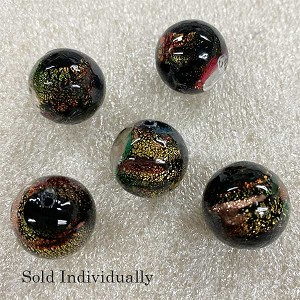 Black Pazze Beads 16mm Murano Glass