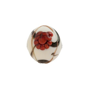 Murano Glass Bead Peony Round 12mm White and Red