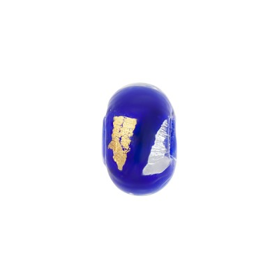 Cobalt Blue Gold, Silver Foil Rondelle 13x8mm 2mm Hole, Murano Glass Bead