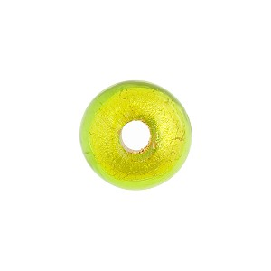 Peridot Green Gold Foil Rondelle 15x10mm 2mm Hole, Murano Glass Bead