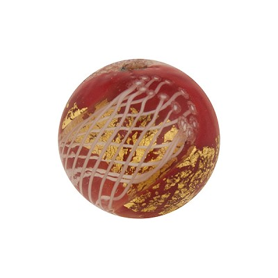 16mm Round Red with Reticello and 24kt Gold Foil Murano Glass Bead
