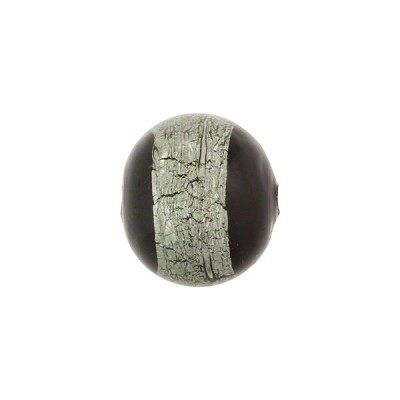 Murano Glass Bead Black Round 12mm Gray Sash