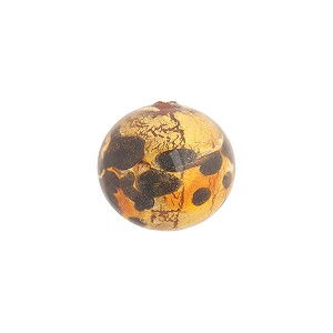 Topaz and Black Spots Venetian Glass Round Bead 14mm, Gold Foil