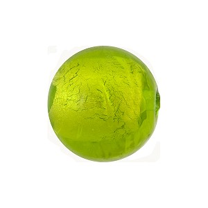 Peridot Green and White Gold Foil Round 16mm Murano Glass Bead