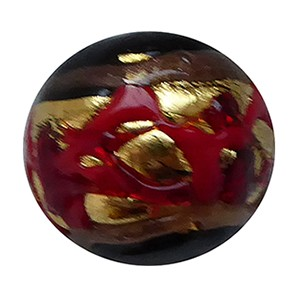 Venetian Glass Beads Black with Red with Exterior Gold Foil Swirl Round 12mm