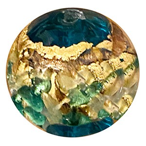 Venetian Glass Beads Aqua  with Exterior Gold Foil Swirl Round 12mm
