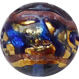 Venetian Glass Beads Blue with Exterior Gold Foil Swirl Round 14mm