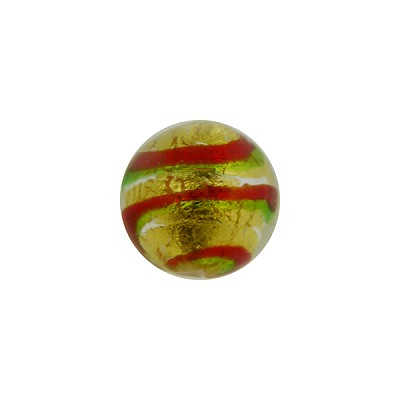 Double Stripes Red and Green Tigrato24kt Gold Foil Round 12mm Venetian Bead