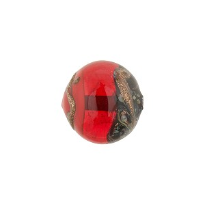 Tricolore Aventurina Murano Glass Bead Round 12mm, Red, Orange, Black