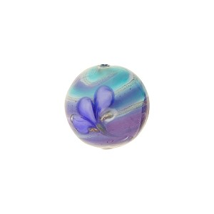 Murano Glass Lampwork Bead Blue, Aqua, Plum with Flowers 12mm