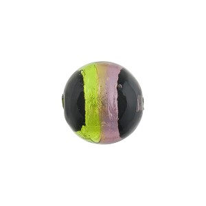 Green & Amethyst Sash Silver Foil Black Round 12mm, Murano Glass Bead