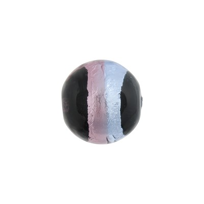 Blue & Amethyst Sash Silver Foil Black Round 12mm, Murano Glass Bead