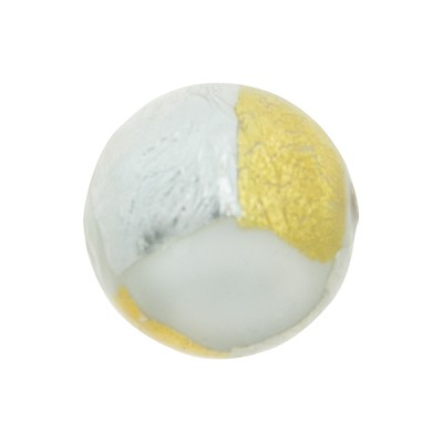 Gold n Silver Splashes 14mm Vicenza Opaque White