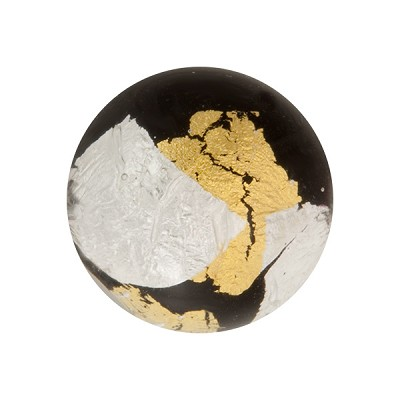 Gold n Silver Splashes 20mm Vicenza Black, Murano Glass Bead