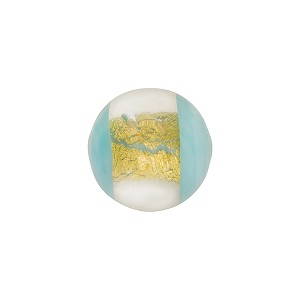 Murano Glass Window Bead, Turquoise & Gold Foil, Round 14mm
