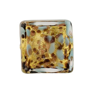 Turquoise Murano Glass with Avventurina Sparkles 16mm Square