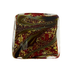 Calcedonia Red and Gold Foil Murano Glass Square 18mm with Aventurina