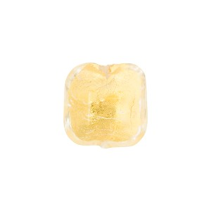 Clear and 24kt Gold Foil Beveled Square 12mm, Venetian Glass Bead