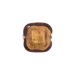Amethyst 24kt Gold Foil Beveled Square 12mm, Venetian Glass Bead