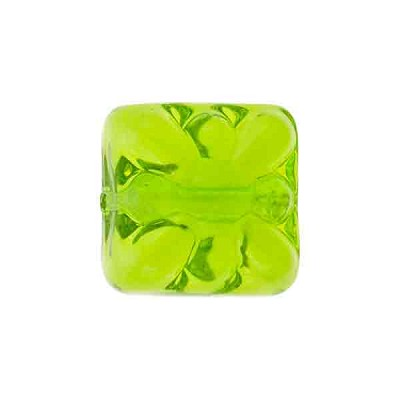 Venetian Glass Bead Square Starburst 15mm Transparent Peridot