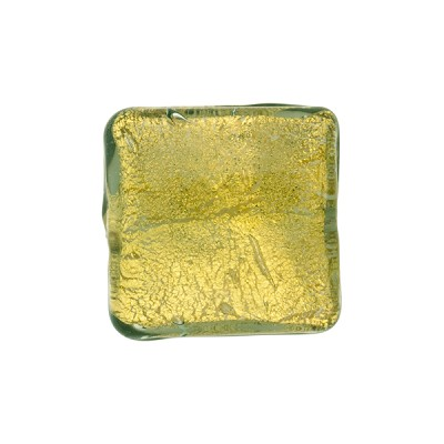 Olive 24kt Gold Foil Curved Square Venetian Glass Bead
