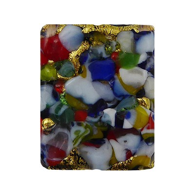 Black Base KLIMT Rectangle 17x14mm Exterior Gold Foil with Mosaics Murano Glass Bead