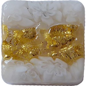 Venetian Glass Lace Bead Clear Base, White Lace Murrine, Exterior 24kt Gold Foil Square 15mm