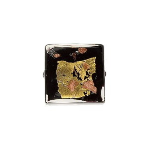 Black Gold & Silver Luna Square 14mm Murano Glass Bead