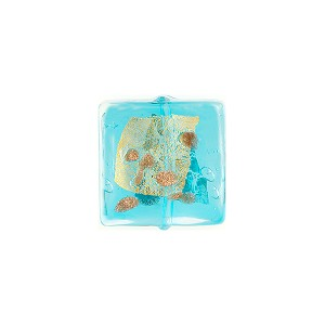 Aqua Luna Square 14mm Murano Glass Bead