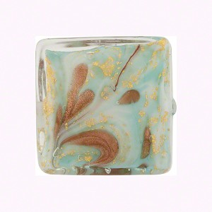 Celeste  Marbled Murano Glass Square, Gold Foil, 20mm