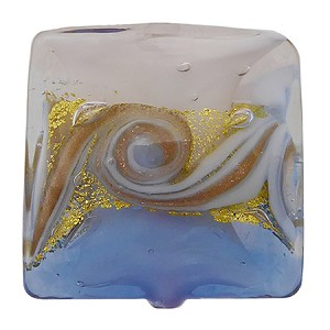 Blue with Aventurina and 24kt Gold Foil Mare Vela Square 18mm Murano Glass Bead
