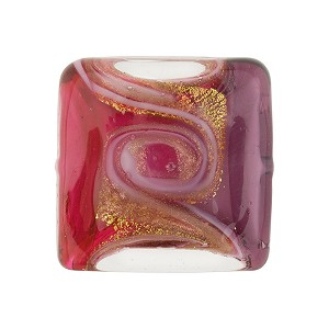 Pink and Purple with Aventurina and 24kt Gold Foil Mare Vela Square 20mm Murano Glass Bead