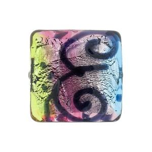 Green, Aqua, Pink Picasso Silver Foil, 18mm Square, Murano Glass Bead
