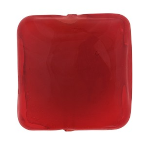 Solid Red Vela Square 24mm  Murano Glass Bead