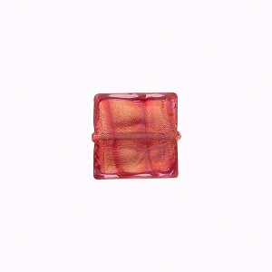 10mm Square Murano Glass Bead, Rubino over Gold Foil