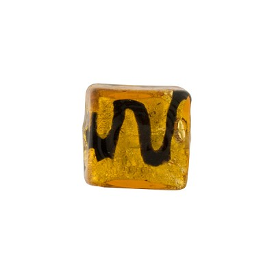 Black Zig Zag over Topaz Murano Glass Bead, 12mm Square