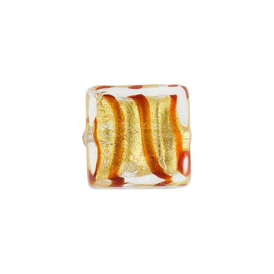 Red and Gold Foil Spiral Tigrato Murano Glass Bead, 12mm Square