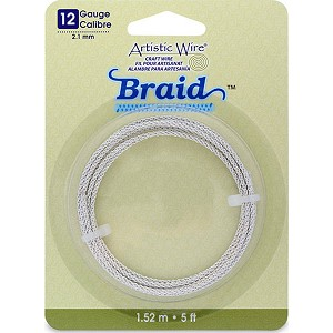 Artistic Wire, 12 Gauge, Braid, Round, Tarnish Resistant Silver, 5 ft