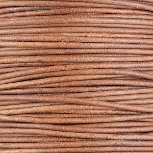 Natural Leather Cord, 2mm Diameter, Per Foot
