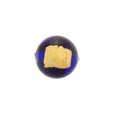 Cobalt Tosca Gold Foil Round 12mm, Murano Glass Bead