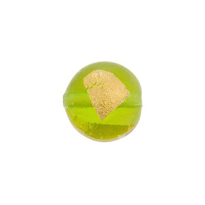 Peridot Tosca Gold Foil Round 12mm, Murano Glass Bead