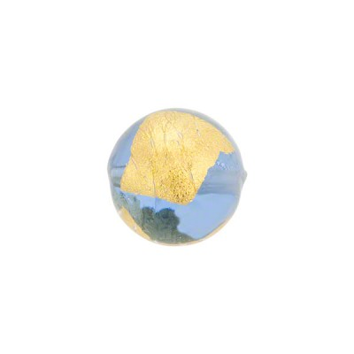 Blue Tosca Gold Foil Round 12mm, Murano Glass Bead