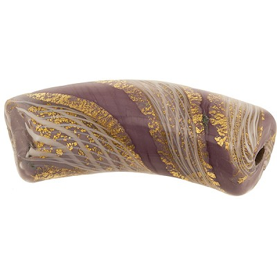 Reticello Curved Tube Opaque Viola, Purple with Gold and White Reticello, 50mm by 17mm