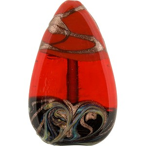 Tricolore Aventurina Murano Glass Bead Flat Drop Red, Orange, and Black