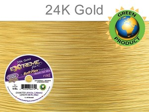 EXTREME FLEX WIRE, .014 Dia. 30ft, 19 Strand, 24kt Gold